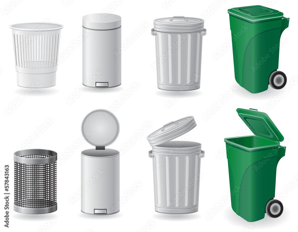Fototapeta trash can and dustbin set icons vector illustration