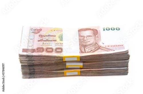 Fototapeta Stacks of 1000 baht bills