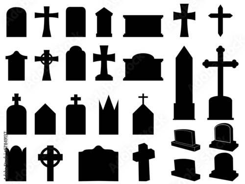 Gravestones and crosses silhouettes illustration collection Canvas Print