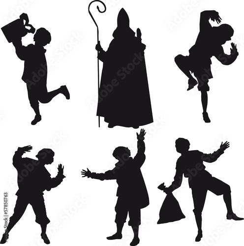 Sinterklaas en zwarte Pieten silhouettes Wall mural