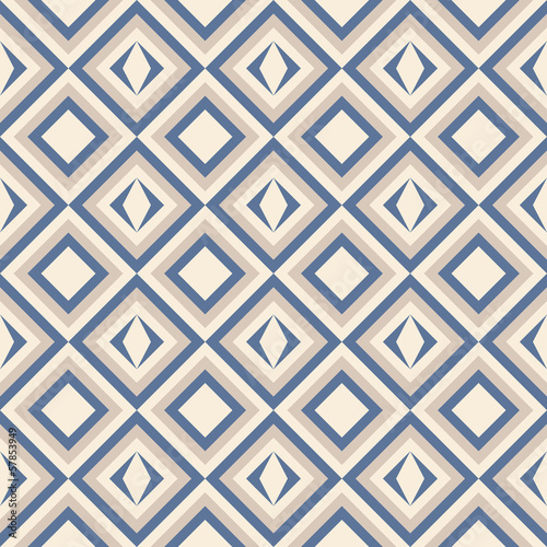 Poster ZigZag Fashion pattern with squares and stars
