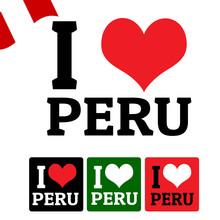 I Love Peru Sign And Labels