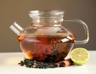Panel Szklany Do gastronomi Zielona herbata w dzbanku