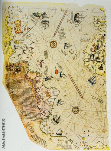 In de dag Retro Ottoman Chart of the New World