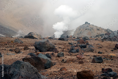 Deurstickers Vulkaan Volcanic vents with smoke, sulfur and ash. Located on Kamchatka