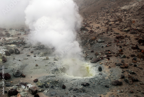 In de dag Vulkaan Volcanic vents with smoke, sulfur and ash. Located on Kamchatka