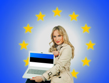 Woman Holding Laptop Estonian With Flag