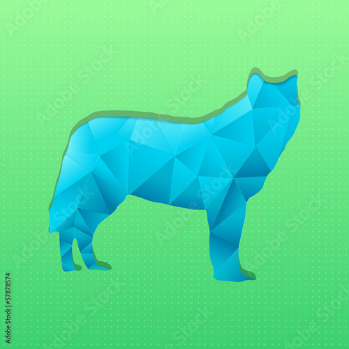 Poster Geometrische dieren Abstract triangular stamp blue wolf