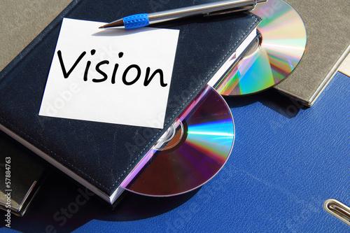 Buch mit CD und Zettel Vision Canvas Print