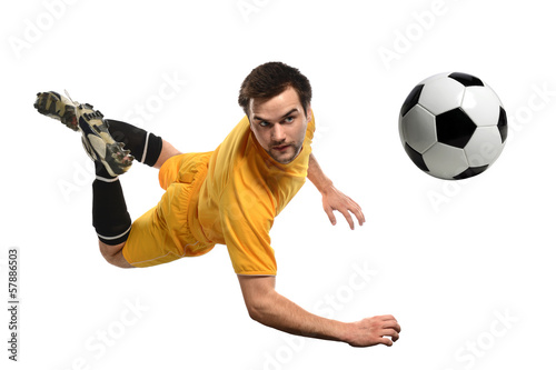 Soccer Player Heading Ball Canvas Print