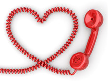 Phone Reciever And Cord As Heart. Love Hotline Concept.