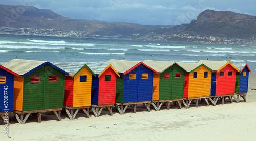 Poster Australie Strandhäuser in Muizenberg
