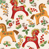 Seamless pattern with folk horses