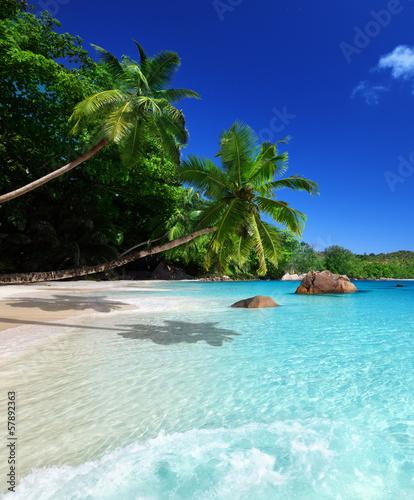 Spoed Foto op Canvas Lichtblauw beach at Praslin island, Seychelles