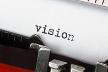 Word Vision On Retro Typewriter