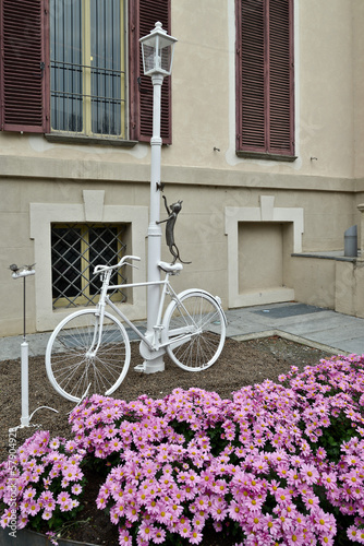 фотографія  bicicletta colorata di bianco legata ad un lampione