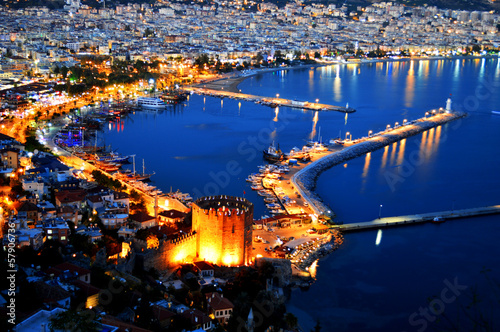 Photo View of Alanya harbor form Alanya peninsula. Turkish Riviera