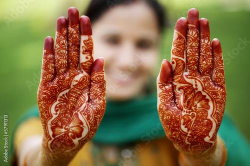 Fotografie, Obraz  Beautiful hand with henna design