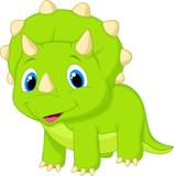 Fototapeta Dinusie - Cute baby triceratops cartoon