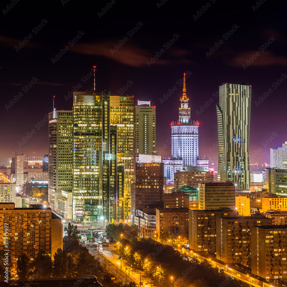Fototapety, obrazy: Warsaw downtown at night