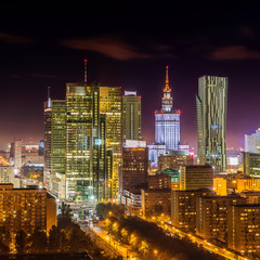 Panel Szklany Warszawa Warsaw downtown at night