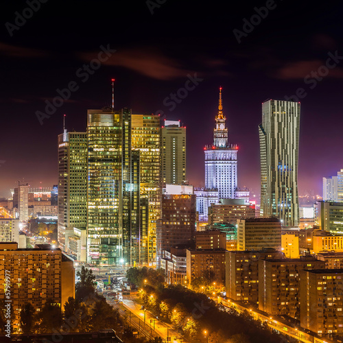 Fototapeta Warsaw downtown at night obraz