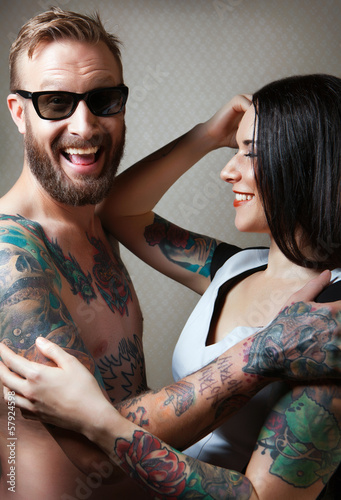 Sexy Couple with tattoos.