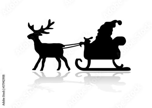 silhouette weihnachtsmann mit rentier kaufen sie diese. Black Bedroom Furniture Sets. Home Design Ideas