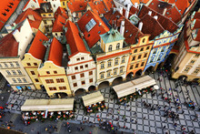 Houses With Traditional Red Roofs In Prague Old Town Square In T