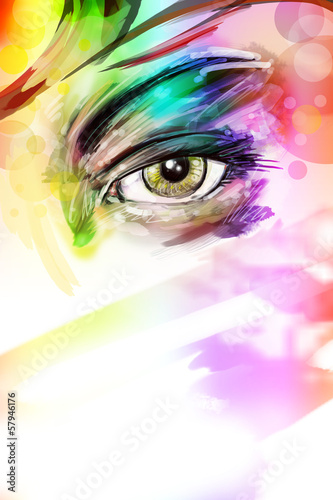 art illustration of female eye with makeup