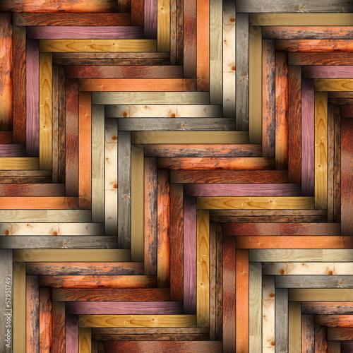 Deurstickers ZigZag colorful wooden tiles on the floor
