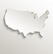 USA map card paper 3D natural