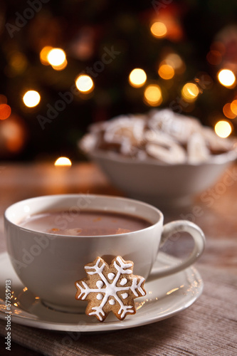 Poster Chocolade A cup of hot chocolate with gingerbread