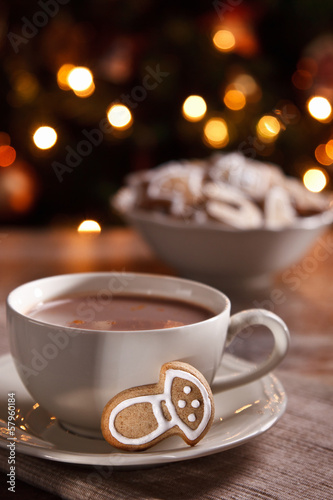 Foto op Canvas Chocolade A cup of hot chocolate with gingerbread