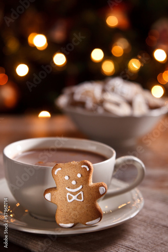 Spoed Foto op Canvas Chocolade A cup of hot chocolate with gingerbread