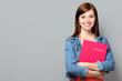 canvas print picture - Junge Frau mit Bewerbungsmappe