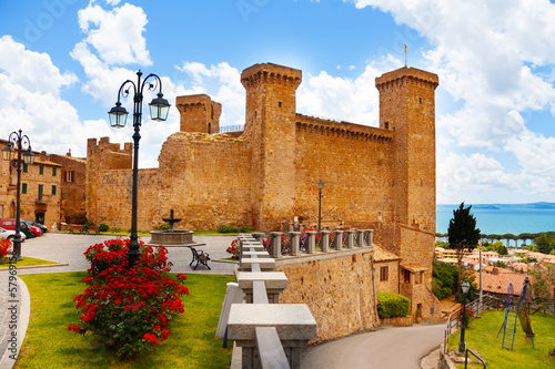 Bolsena billage castle and lake Canvas Print