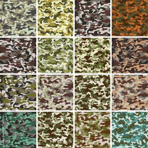 Fotografía  Vector Mega Set of Seamless Camouflage Pattern
