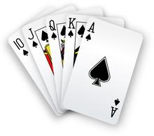 Poker Cards Straight Flush Spa...