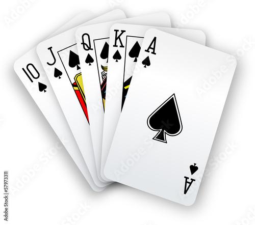 Valokuvatapetti Poker cards Straight Flush spades hand