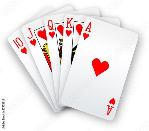 Fotografia Poker cards Straight Flush hearts hand