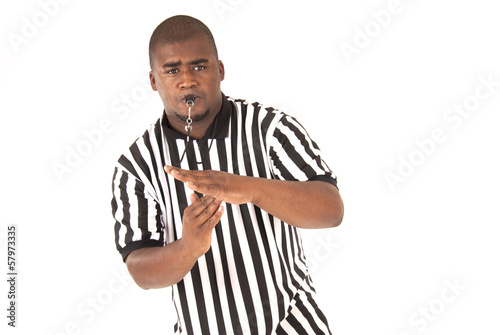 Fotografering  Black referee making a call of technical foul or time out
