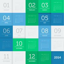 Calendar 2014 - Square Pattern - Flat Color