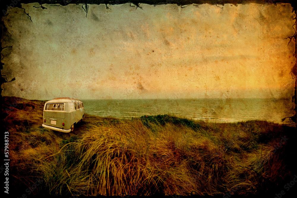 Fotografie, Obraz Retrobild - Strandcamper