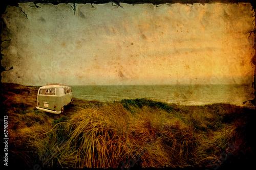 Obraz na plátně Retrobild - Strandcamper