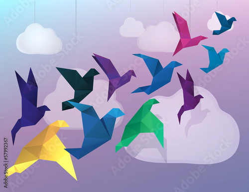 Foto auf Gartenposter Geometrische Tiere Origami Birds flying and fake clouds background