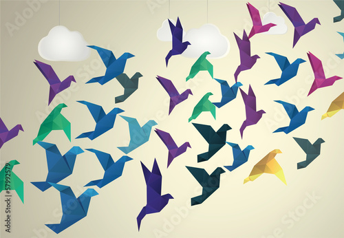 Animaux geometriques Origami Birds flying and fake clouds background