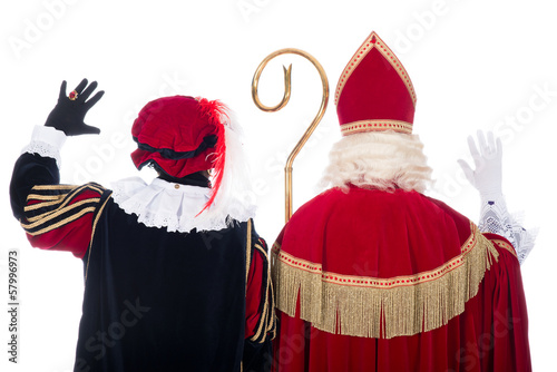 Photo  Sinterklaas and Black Pete from the back