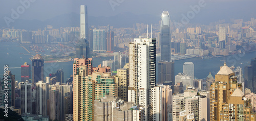 Hong Kong skyline from Victoria Peak. Panorama Tablou Canvas