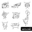 Set of owl sketch